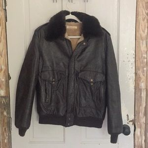 Vintage leather and shearling Brooks Brothers coat